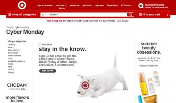 Target is building its Cyber Monday email list right now.