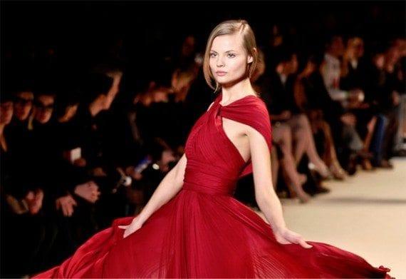 Model Magdalena Frackowiak wears an Elie Saab dress at Paris Fashion Week.