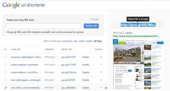 Google's URL shortener is free and also tracks clicks.