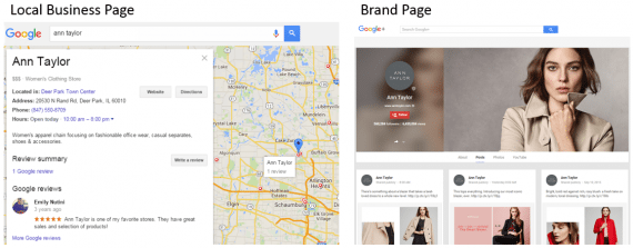 Ann Taylor's local business page for a store in Deer Park, Ill., at left, as compared to its brand page at right.