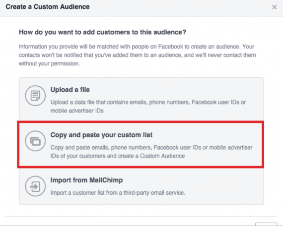 "Choose ""Copy and paste your custom list."""