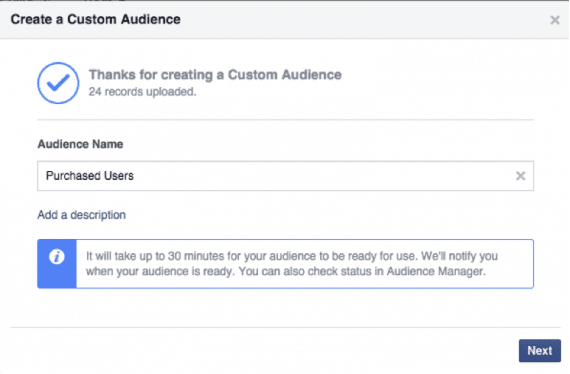 "Give your audience a name — ""Purchased Users"" in this example."