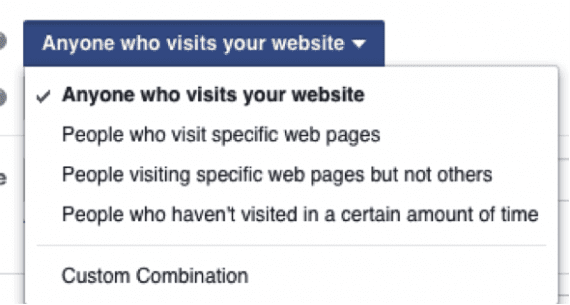 "Select ""Anyone who visits your website"" to create combinations of how you want to add people to your list."