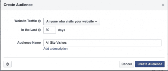"Assign a name to our audience — ""All Site Visitors,"" for example."