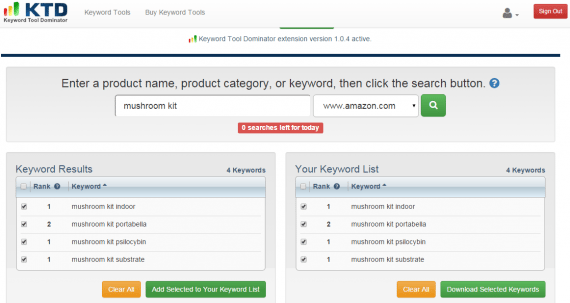 A report on Amazon keywords from Keyword Tool Dominator's Amazon Keyword Tool.