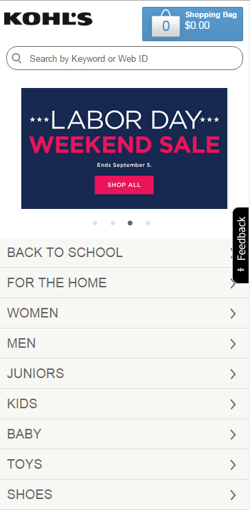 Kohl's ecommerce site on a smartphone.