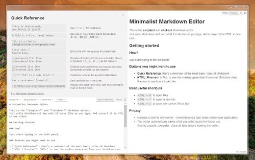 Minimalist Markdown Editor.
