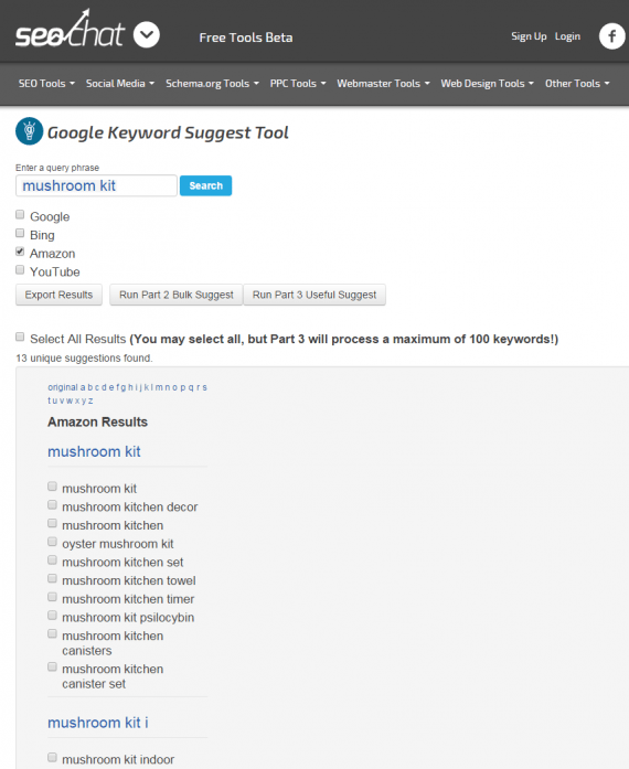 A report on Amazon keywords from SEO Chat's Autosuggest Keyword Tool.