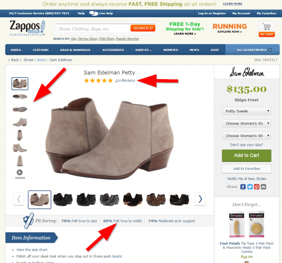 This product page on Zappos contains content that helps shoppers: multiple product images and reviews and ratings from consumers.