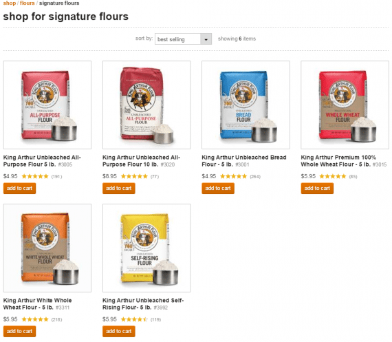 Repeat shoppers should be able to buy right from a product listing page. <em>Source: King Arthur Flour.</em>