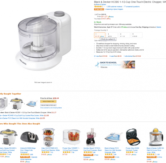 Is displaying a steam iron and sandwich press wasting prime real estate when one is looking for a food chopper? Source: Amazon