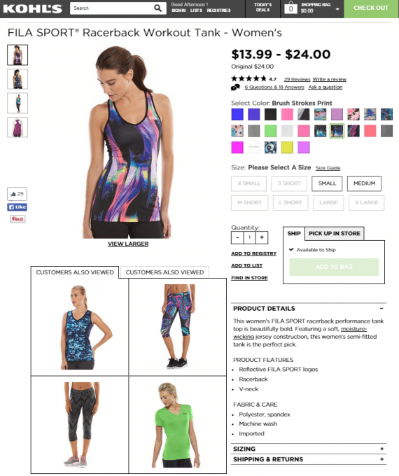 Product page with related items at Kohls.com