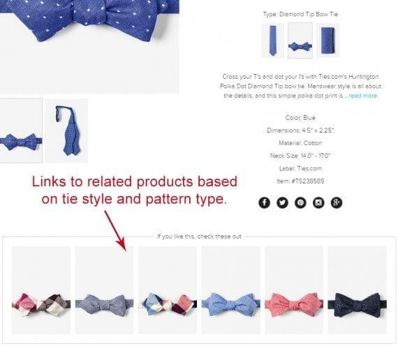 Related products section at Ties.com