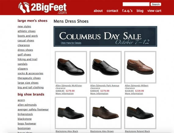 Men with large feet can sometimes have trouble finding shoes, but 2BigFeet solves that problem.