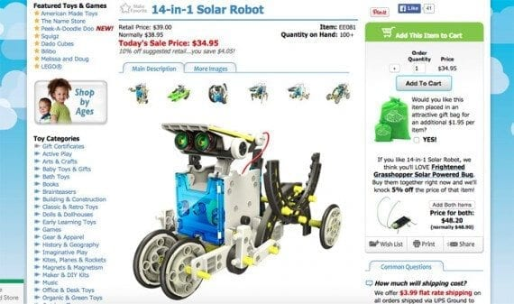In a couple of clicks, the commuter has ordered the 14-in-1 Solar Robot.
