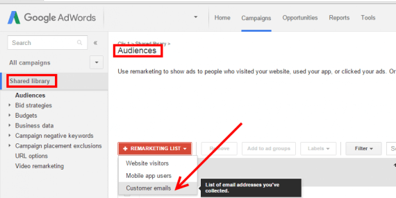 "Upload your email list in AdWords, at Shared Library > Audiences. Then click the ""+Remarketing List"" button to select ""Customer emails."""