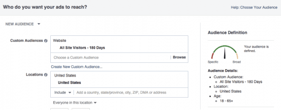Ad targeting options for your custom audience.