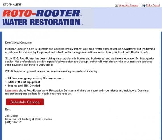 This email from Roto-Rooter was sent a few days before Hurricane Joaquin was set to hit the East Coast.