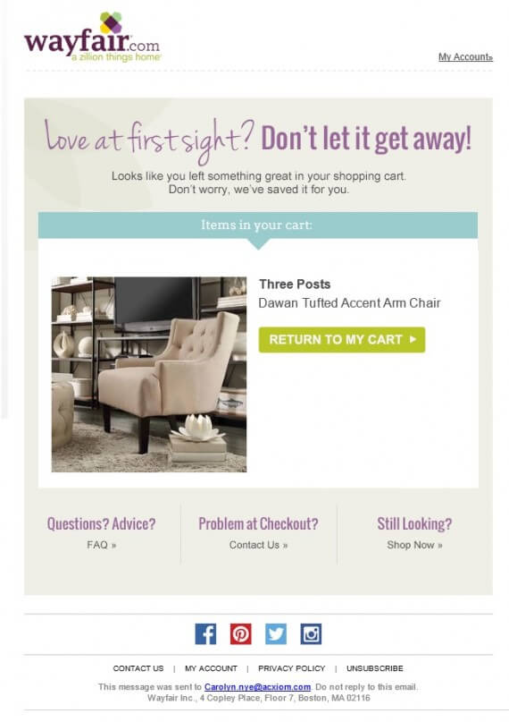 This abandoned-cart email for a large-ticket item from Wayfair emphasized a good deal that may go away, due to limited stock.