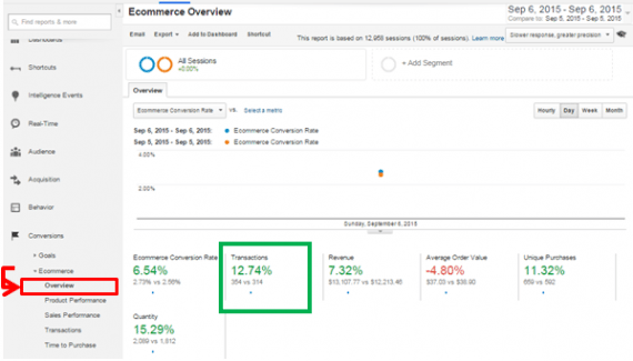 Monitor day-over-day transactions in Google Analytics by going to Ecommerce -> Overview.