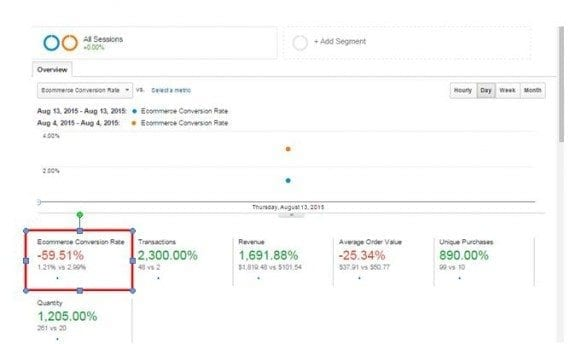It is important to monitor your store's conversion rate daily, at Conversions > Ecommerce > Overview.