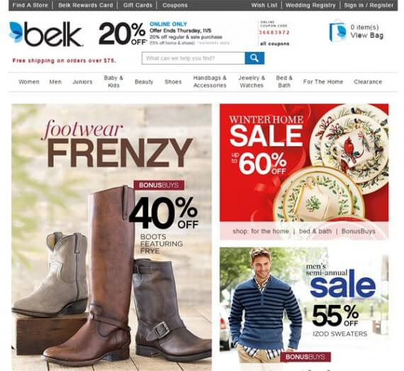 Belk uses a card layout to promote sales.
