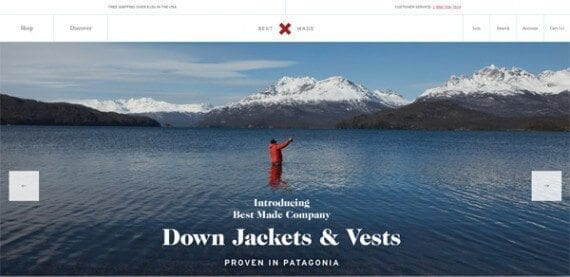 Best Made features a massive lifestyle photo on its home page.
