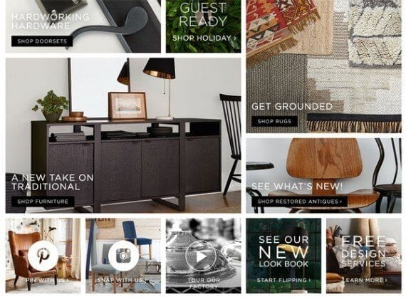 Rejuvenation uses a card-like layout, featuring large product images, to organize its home page.