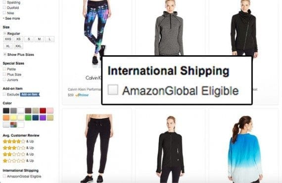 Amazon lets shoppers filter category pages to select just those products available for international shipping.