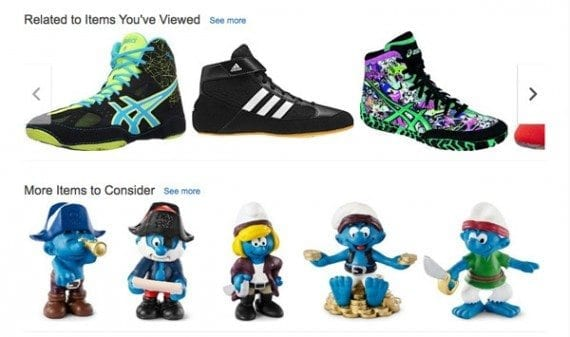 Amazon offered personalized products on its home page.
