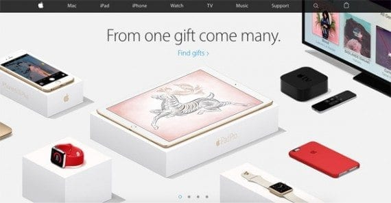 A large image suggesting that Apple's products make good gifts dominates the company's homepage.
