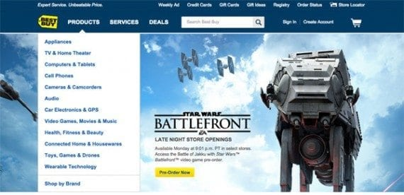 The Best Buy website had a large image promoting the Star Wars Battlefront game.