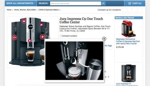 Costco not only shows a picture of this coffee center, but has links in the image to additional images and information.