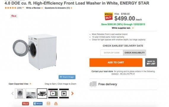 The Home Depot site included a 360-degree view of this washer.