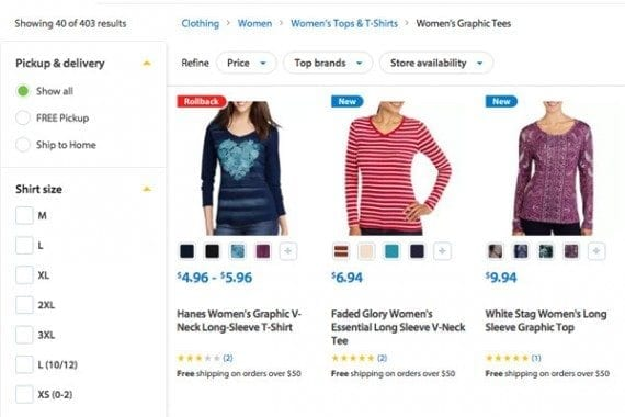 Walmart lets shoppers filter products on its category pages.
