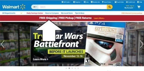 Walmart's site was one of many to feature a free shipping offer.