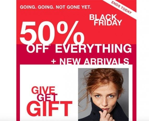The Gap email had an overarching offer that seemed to apply to many individual images.