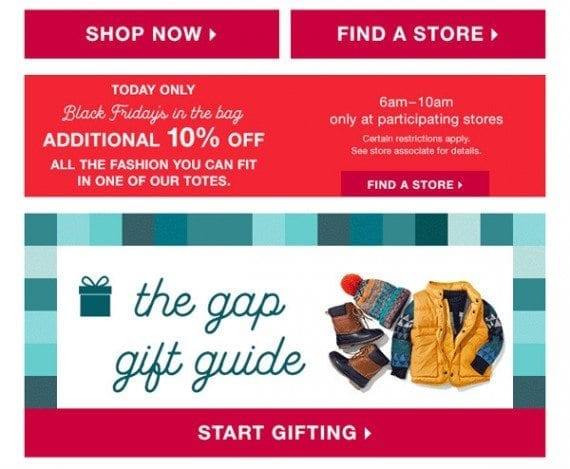 The Gap email message also made several secondary offers.