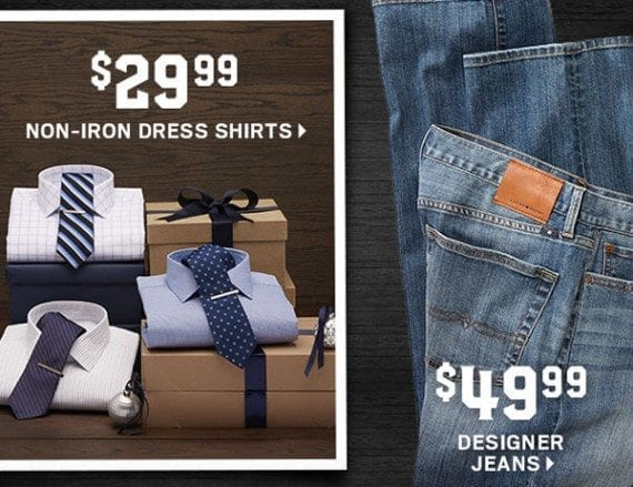 The same Men's Wearhouse email message includes price point offers for products and categories.