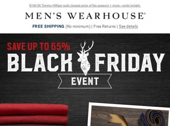 A Black Friday email from the Men's Wearhouse makes three distinct offers at the top of the email.