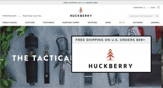 Huckberry makes a threshold-based free shipping offer on all of its pages.