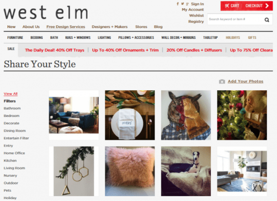 User-generated product wall on WestElm.com, powered by Olapic.