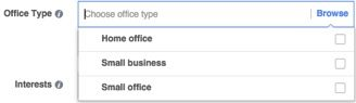 """Office Type"" offers three choices: Small Business, Home Office, or Small Office."