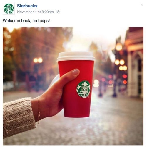 "Starbucks ""Welcome back, red cups!"" on Facebook."