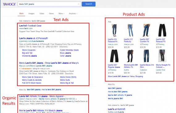 "Yahoo Product Ads appear on the top right of desktop search results, as shown in this example for ""Levis 541 jeans."""