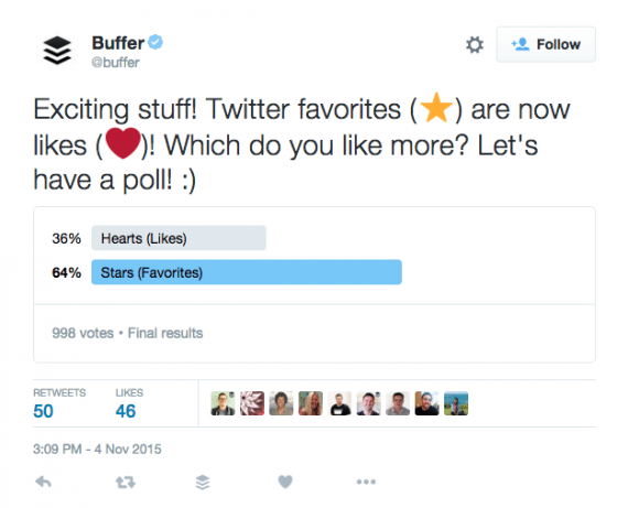 Buffer is experimenting with Twitter's new poll format.