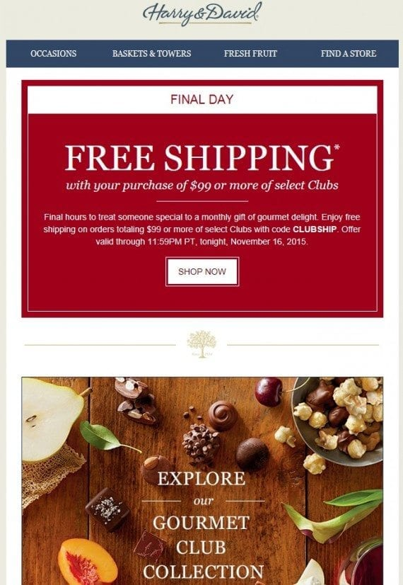 Harry & David sends emails to lapsed customers during the holiday season.