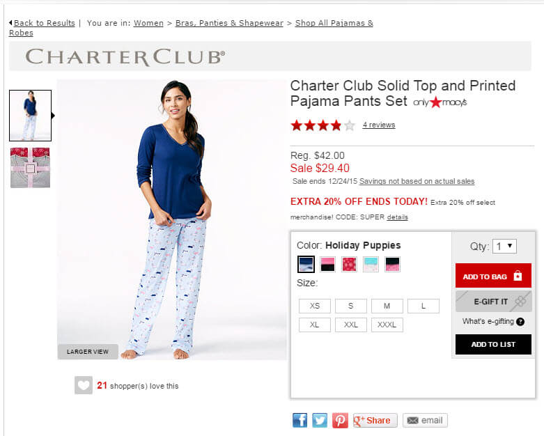 Macy's lists the $42.00 original price, followed by the $29.40 sale price in red.
