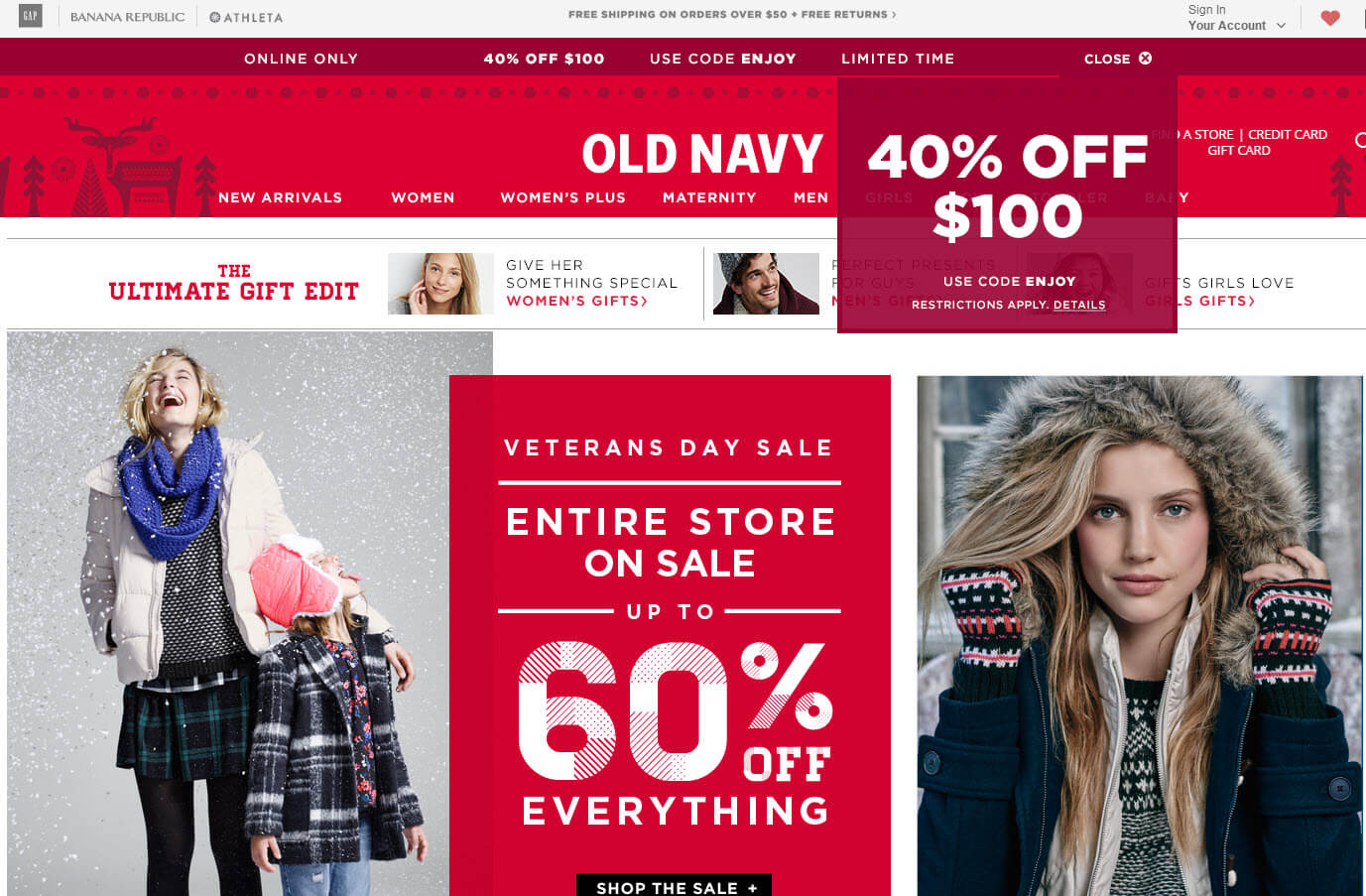 "Offering a coupon? Old Navy puts it right in the top banner — ""USE CODE ENJOY."" It also uses a popover box that takes up little space. It doesn't really need both, though."