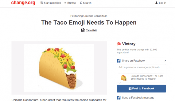 Taco Bell launched a Change.org petition to include a taco emoji in Unicode 8.0.